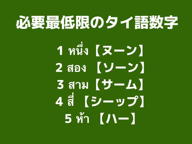 必要最低限のタイ語数字